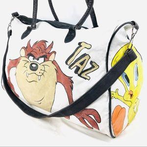 Vintage TAZ Looney Tunes Duffel Bag Tweety Bugs